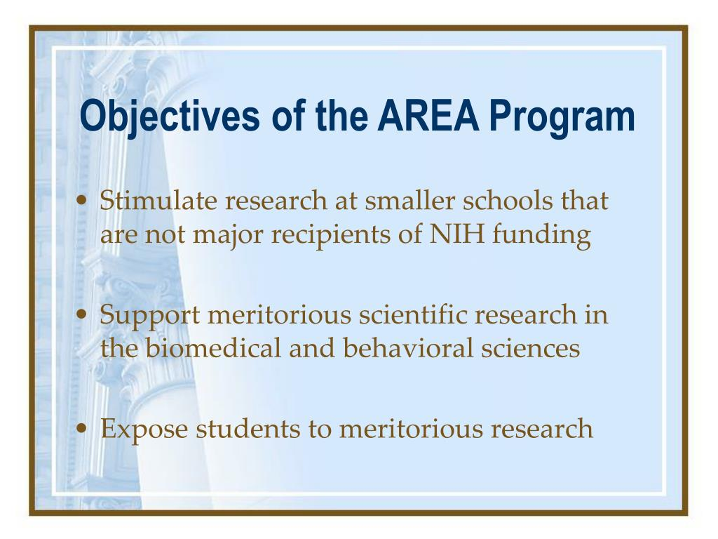 Objectives of the AREA Program