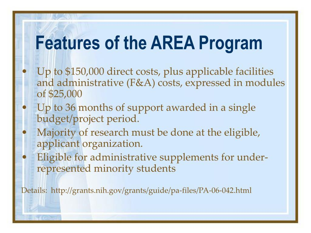 Features of the AREA Program