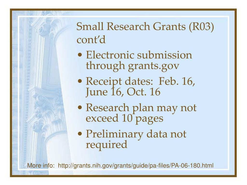 Small Research Grants (R03) cont'd