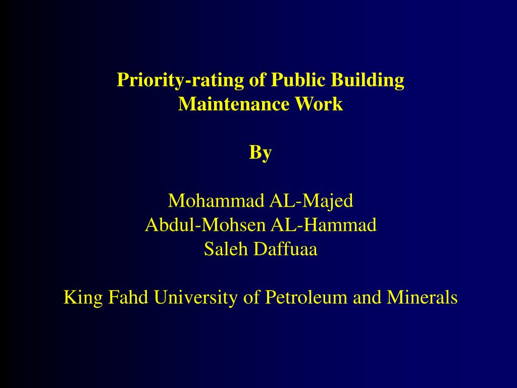 Priority-rating of Public Building