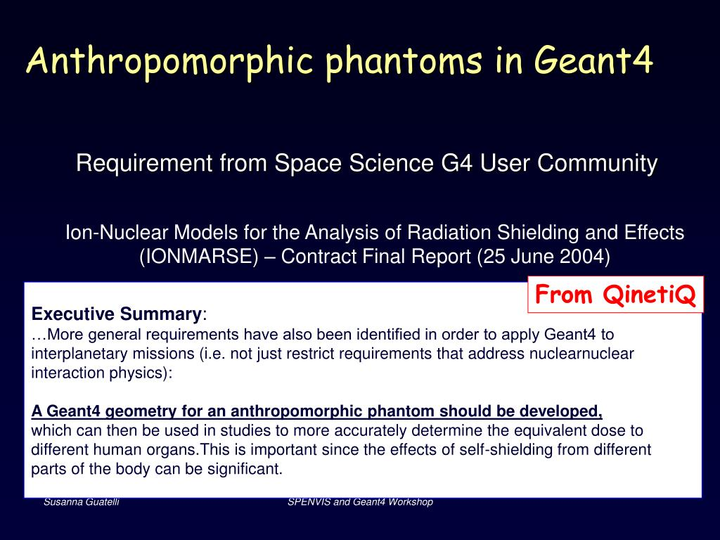 Anthropomorphic phantoms in Geant4
