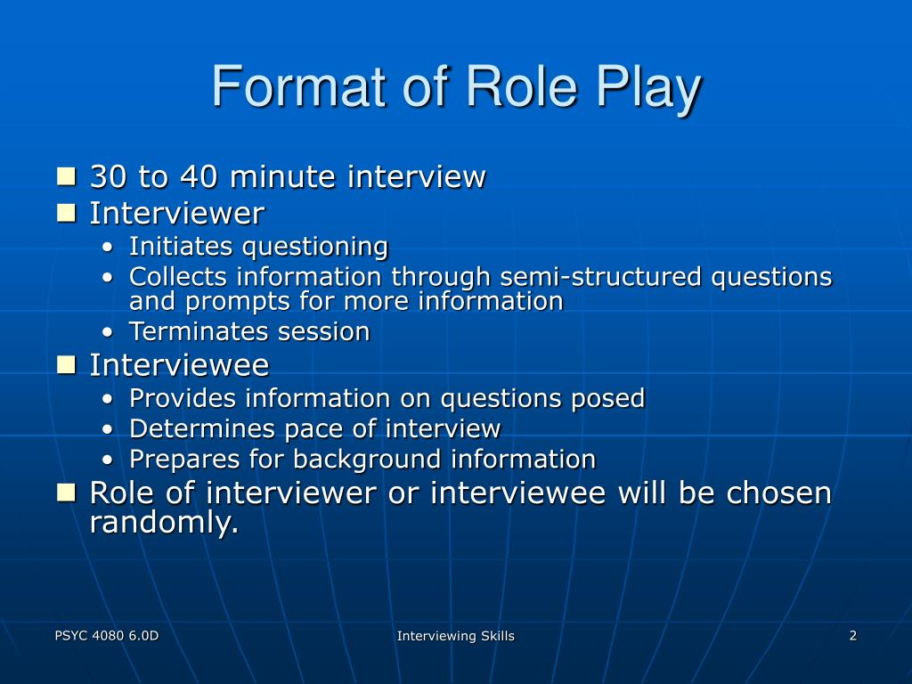 Format of Role Play