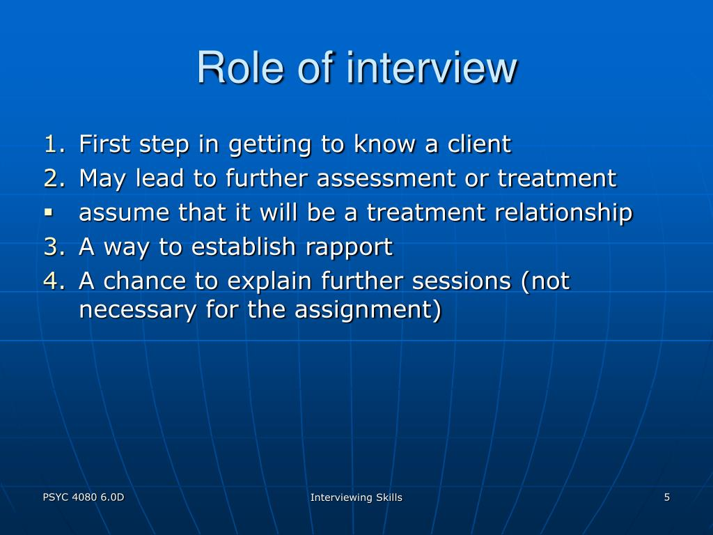 Role of interview