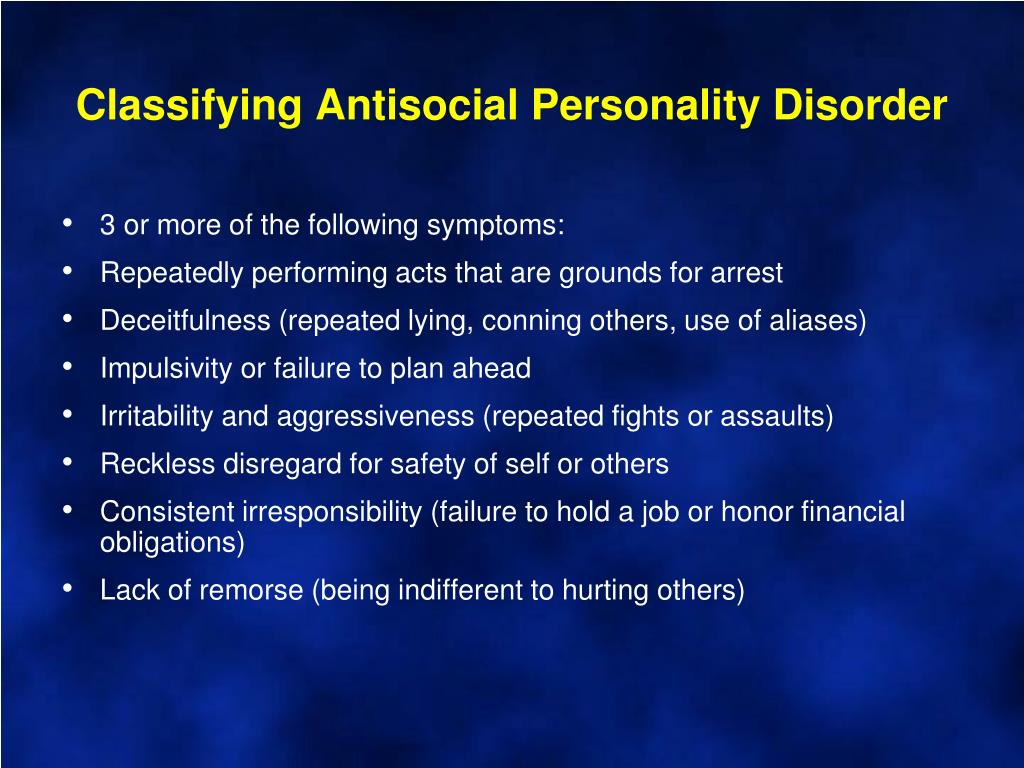 Classifying Antisocial Personality Disorder