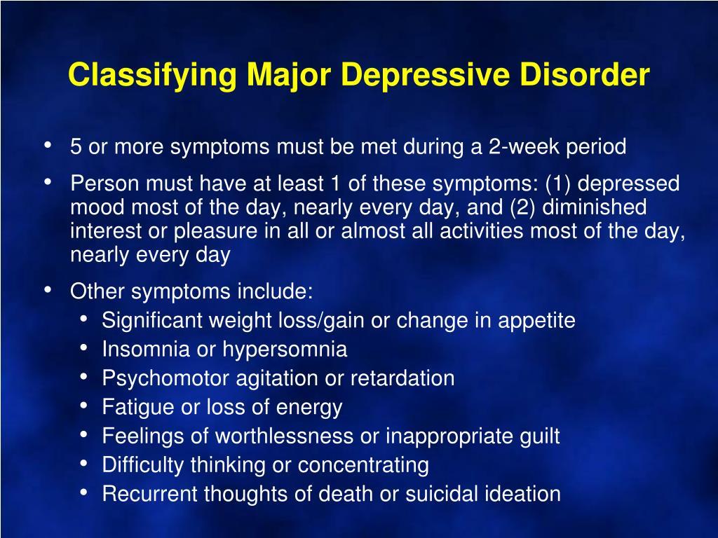 Classifying Major Depressive Disorder