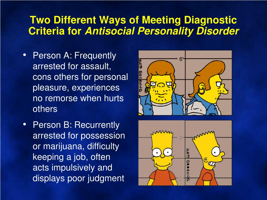 Two Different Ways of Meeting Diagnostic Criteria for