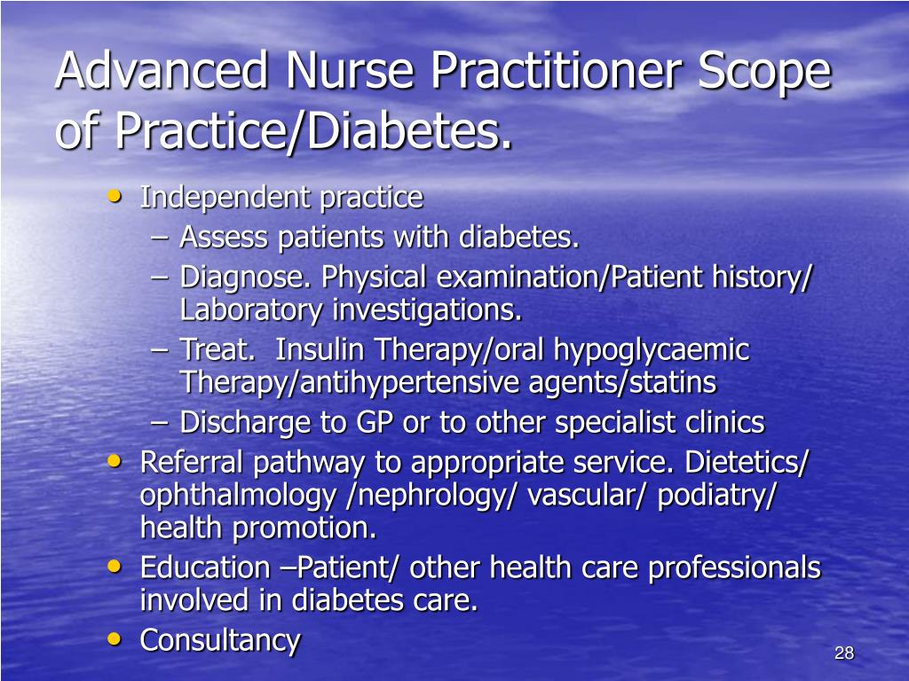 Advanced Nurse Practitioner Scope of Practice/Diabetes.