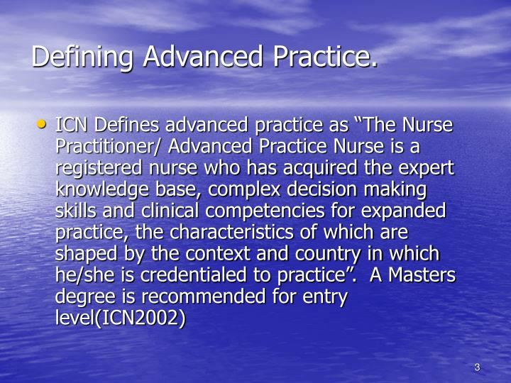 Defining advanced practice