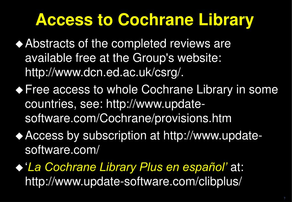 Access to Cochrane Library
