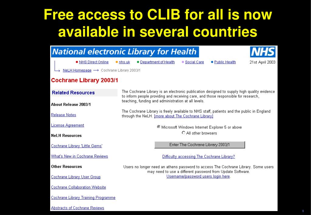 Free access to CLIB for all is now available in several countries