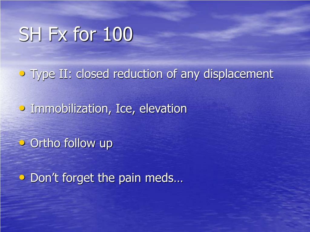 SH Fx for 100