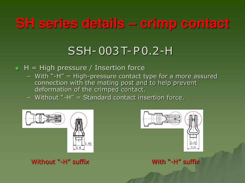 SH series details – crimp contact