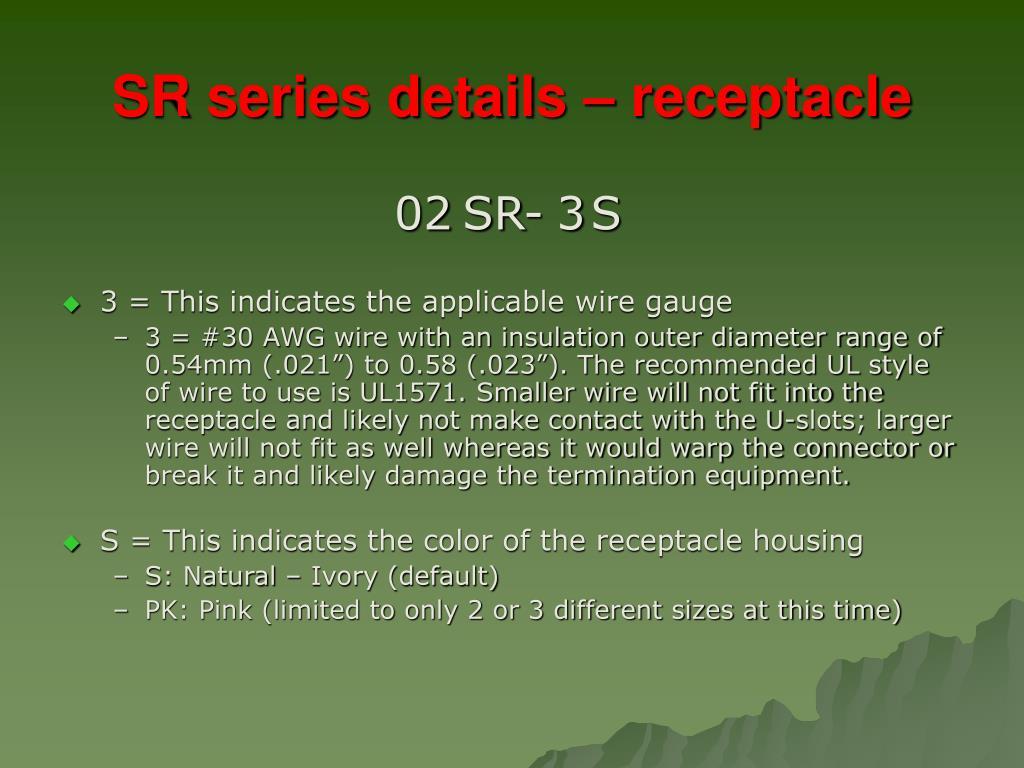 SR series details – receptacle