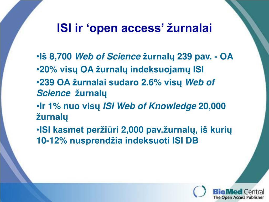 ISI ir 'open access' žurnalai
