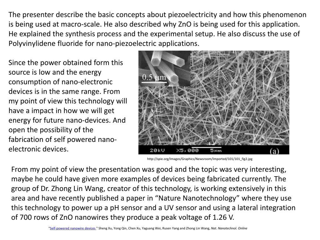 The presenter describe the basic concepts about piezoelectricity and how this phenomenon is being used at macro-scale. He also described why