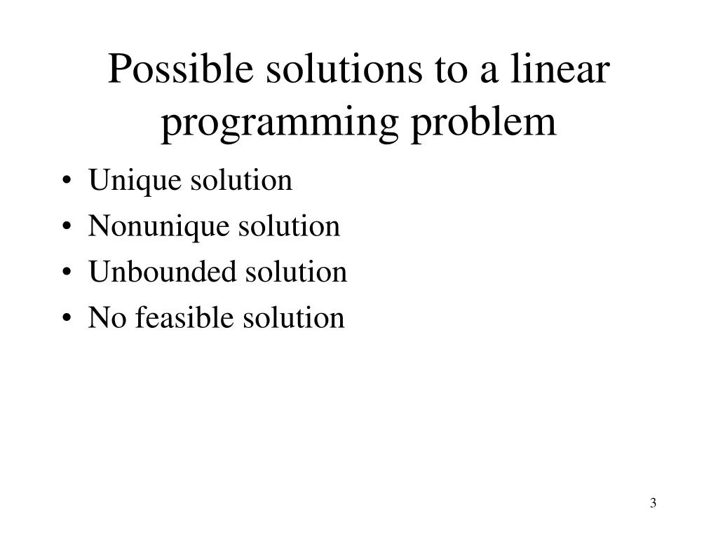Possible solutions to a linear programming problem