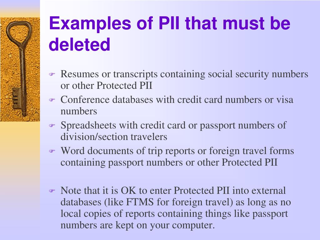 Examples of PII that must be deleted