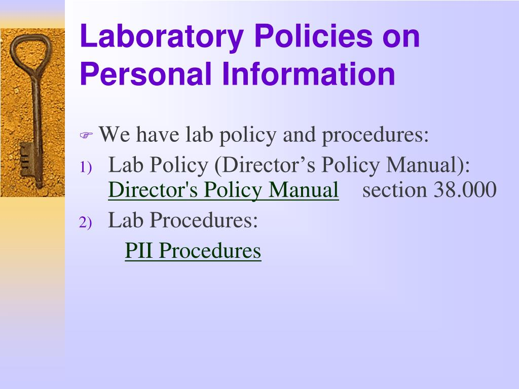Laboratory Policies on Personal Information