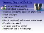 warning signs of bulimia