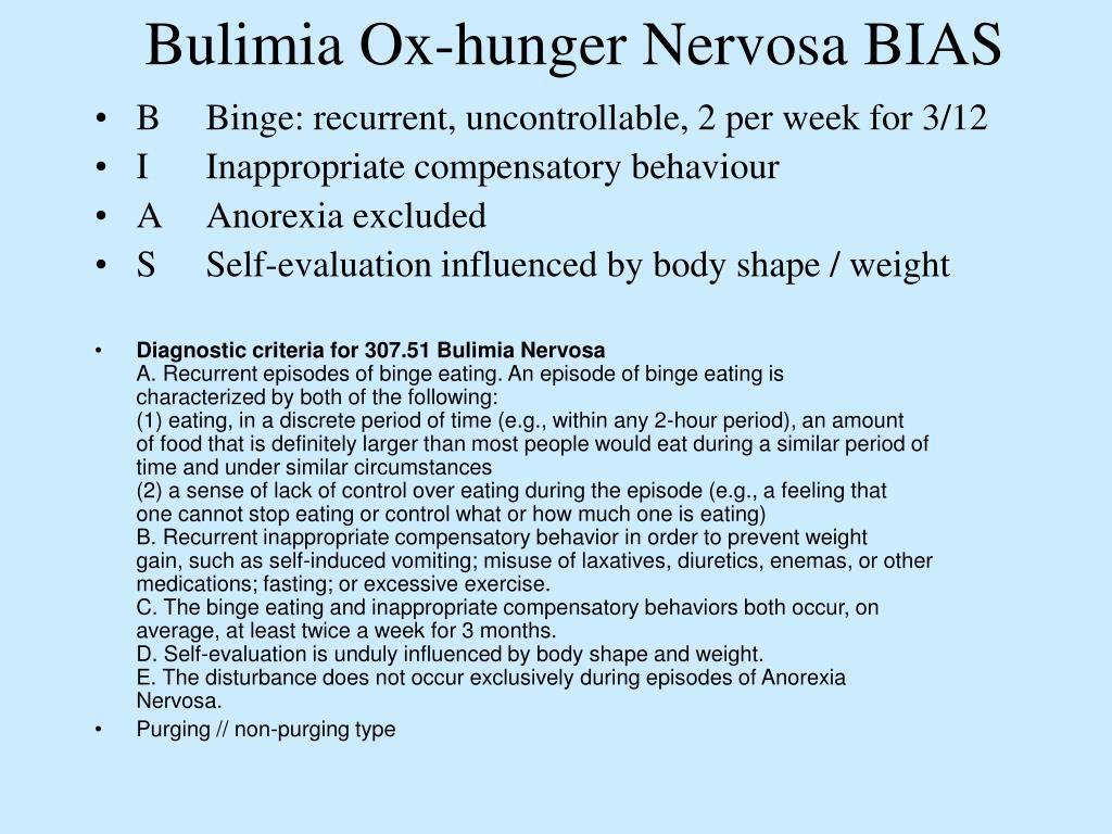 Bulimia Ox-hunger Nervosa BIAS