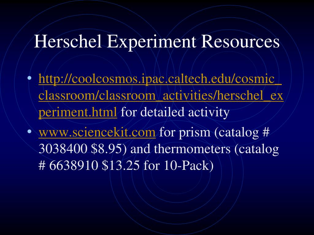 Herschel Experiment Resources