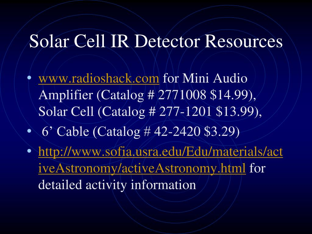 Solar Cell IR Detector Resources