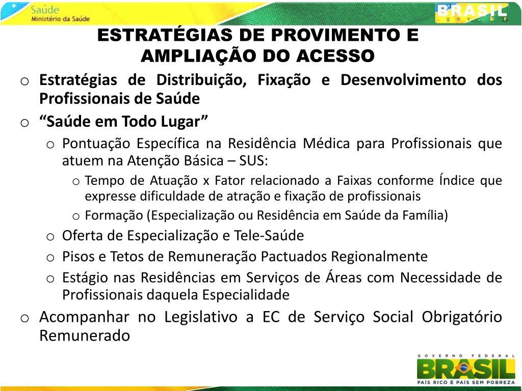 ESTRATÉGIAS DE PROVIMENTO E