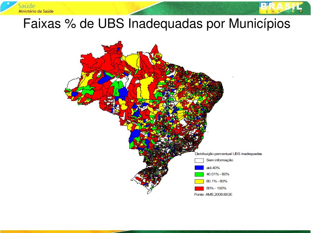 Faixas % de UBS Inadequadas por Municípios