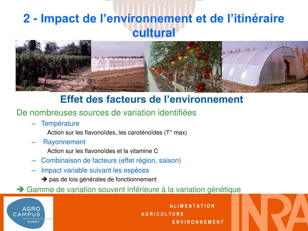2 - Impact de l'environnement et de l'itinéraire cultural