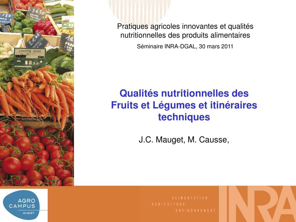 Pratiques agricoles innovantes et qualités nutritionnelles des produits alimentaires