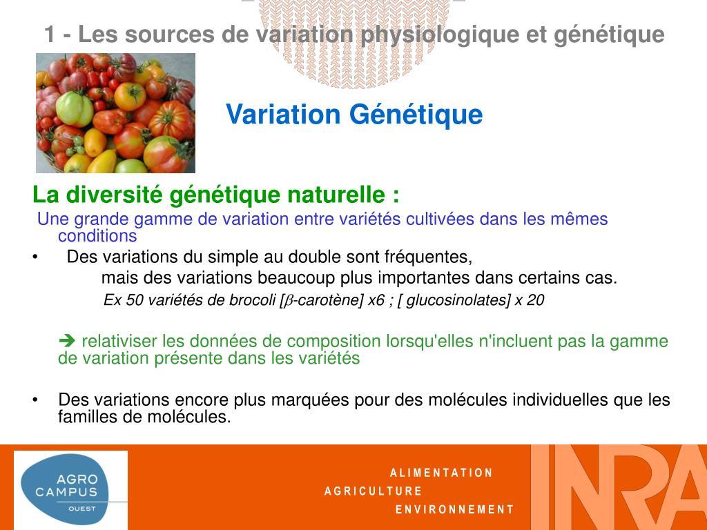 La diversité génétique naturelle :