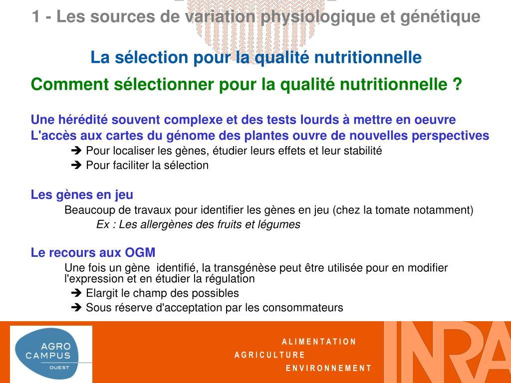 Comment sélectionner pour la qualité nutritionnelle ?