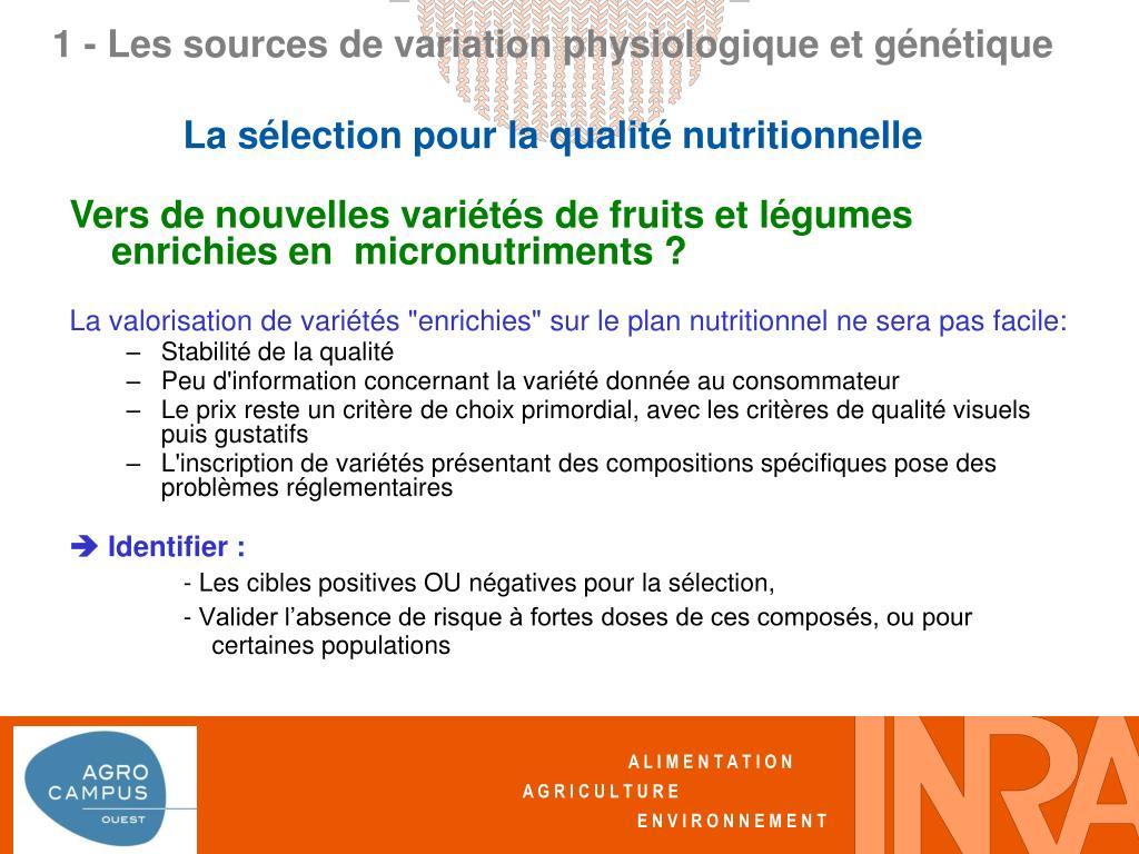 Vers de nouvelles variétés de fruits et légumes enrichies en  micronutriments ?