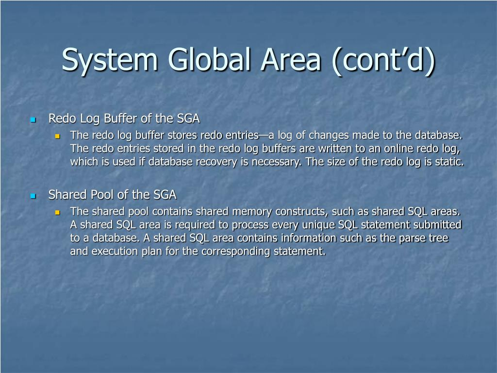 System Global Area (cont'd)