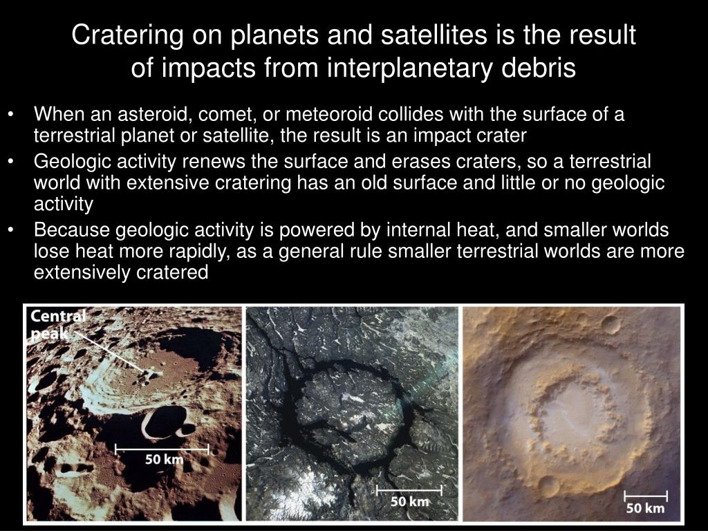 Cratering on planets and satellites is the result