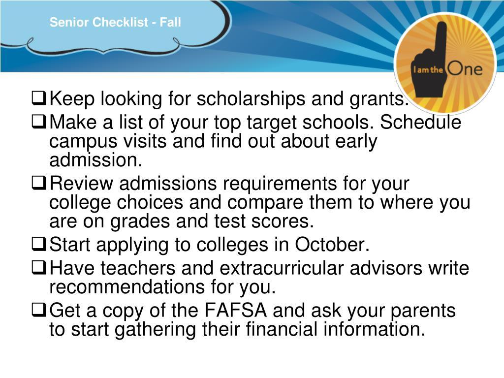 Senior Checklist - Fall