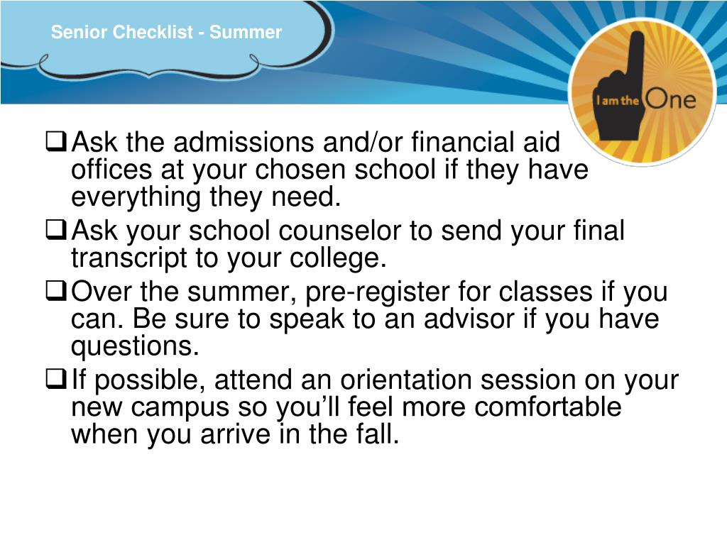 Senior Checklist - Summer