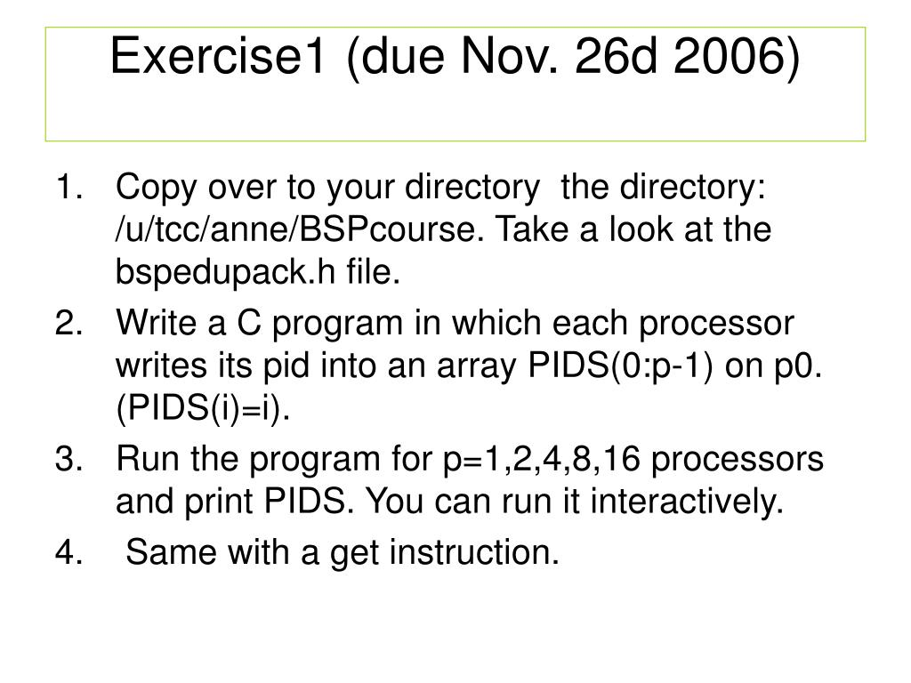 Exercise1 (due Nov. 26d 2006)