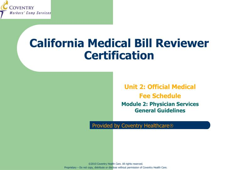 California medical bill reviewer certification l.jpg