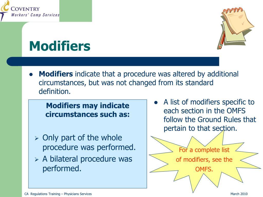 Modifiers