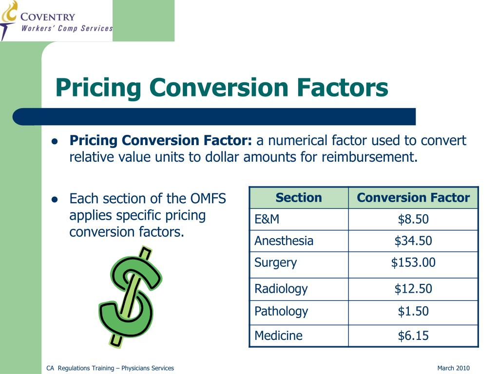 Pricing Conversion Factors