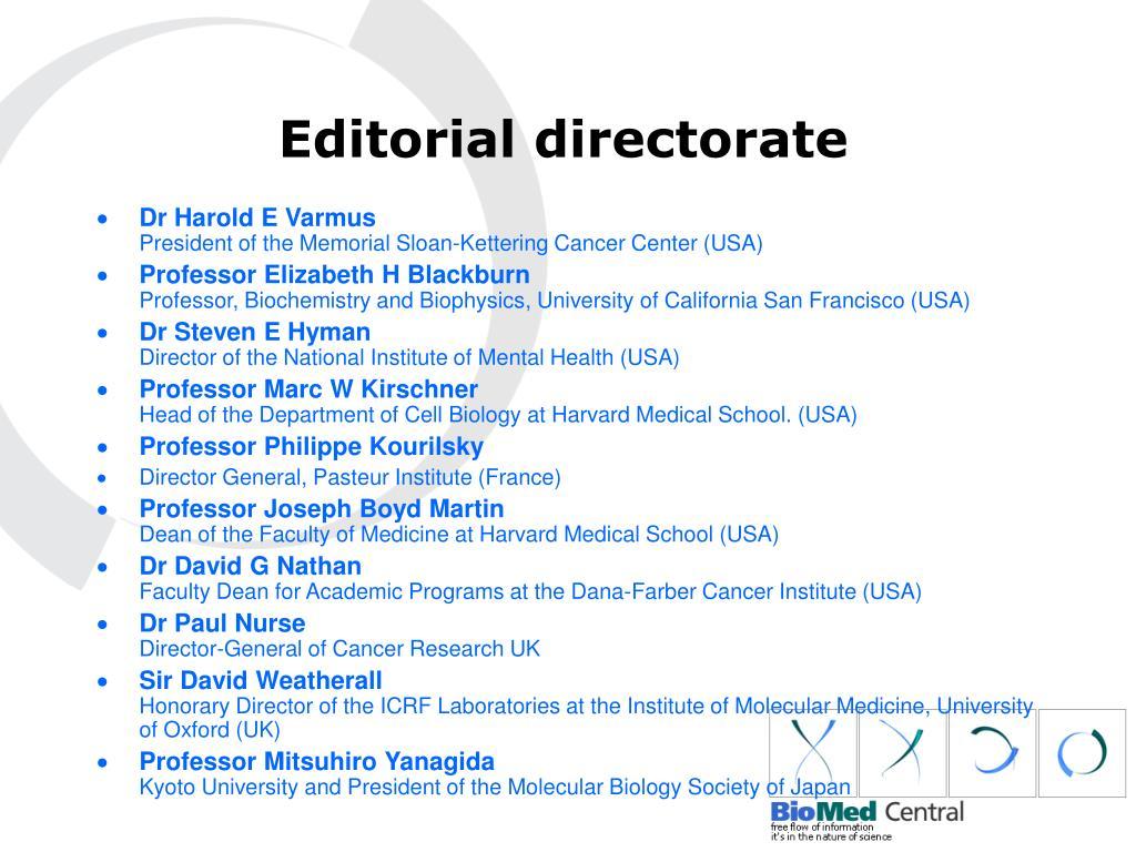 Editorial directorate
