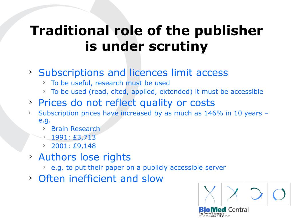 Traditional role of the publisher is under scrutiny