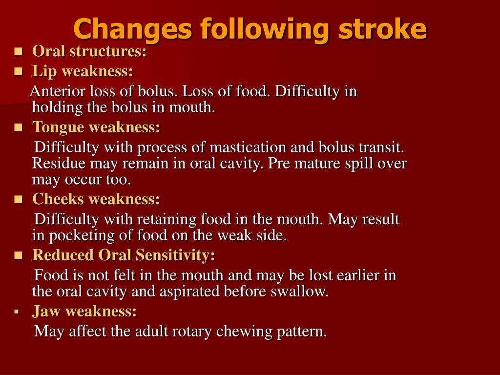 Changes following stroke