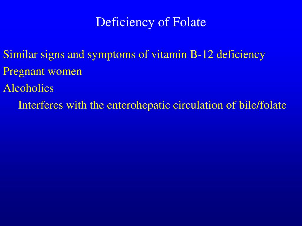 Deficiency of Folate