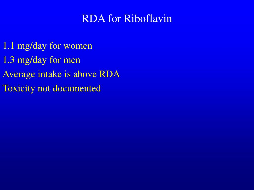 RDA for Riboflavin
