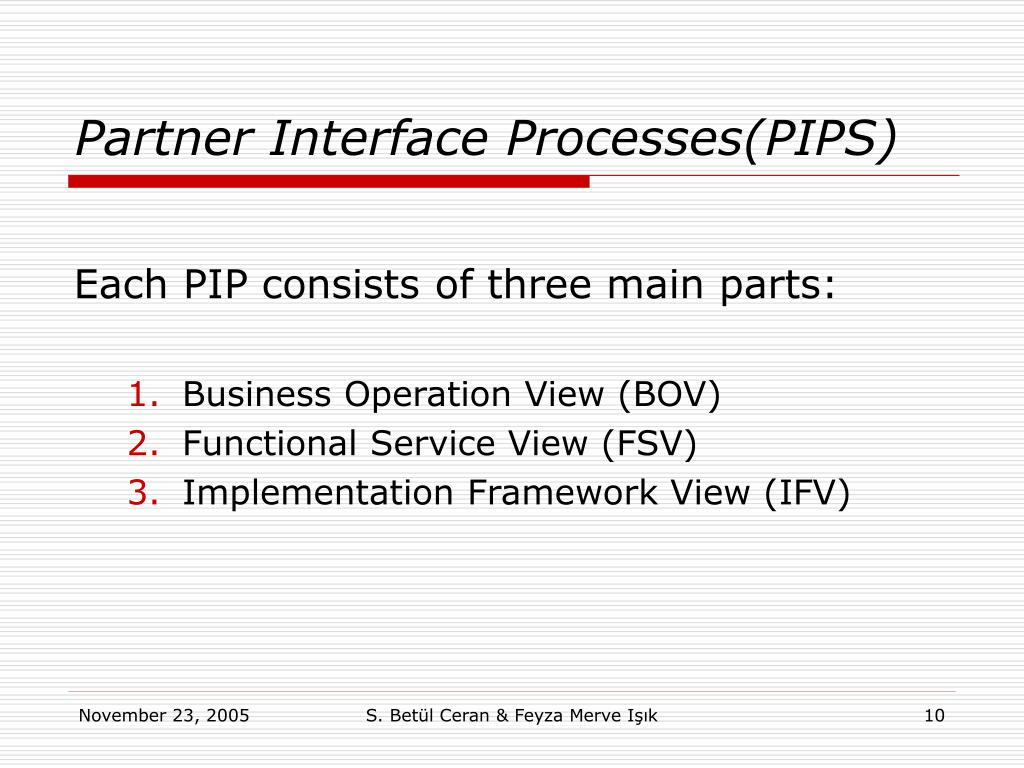 Partner Interface Processes(PIPS)