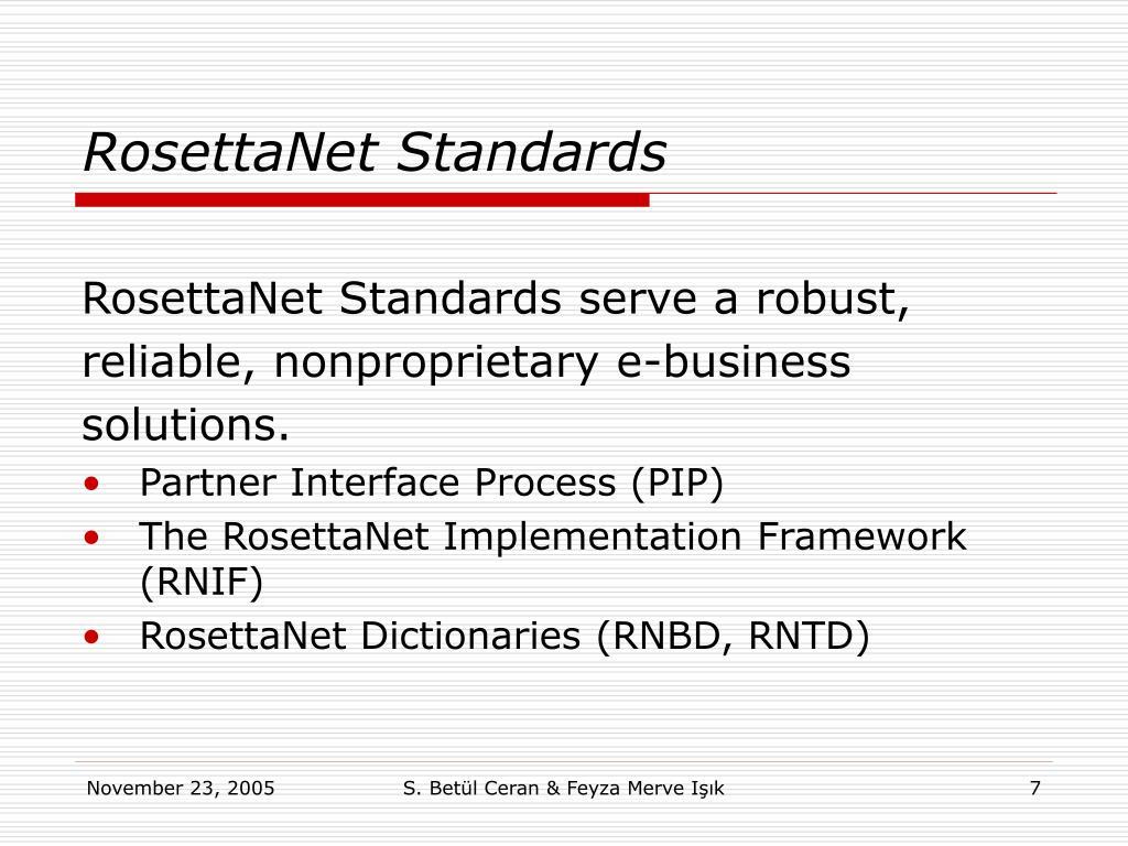 RosettaNet Standards