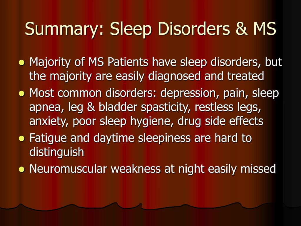 Summary: Sleep Disorders & MS