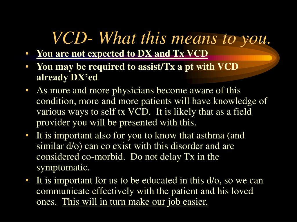 VCD- What this means to you.